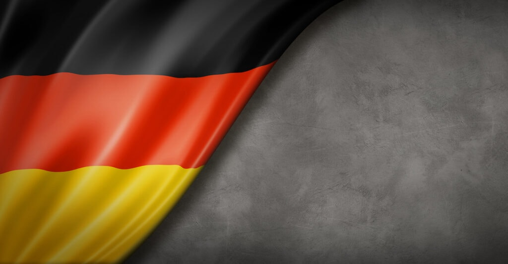 German flag on concrete wall banner
